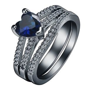 Jewelry - 18k Black Gold Plated Blue Sapphire Ring Size 7